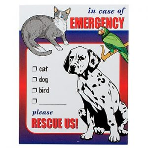 Dog and cat emergency sticker
